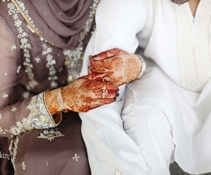 couple, henna, and muslim image
