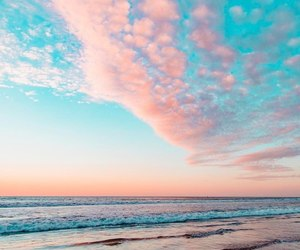 beach, pastel, and pink image