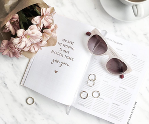 flowers, coffee, and book image