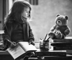 book, kids, and black and white image