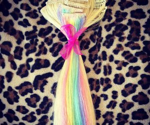 extensions, hair, and rainbow image
