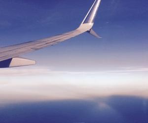 airplane, flight, and skies image