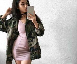 fashion, selfie, and rose gold dress image