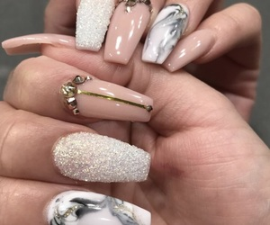nails, nail art, and marble image