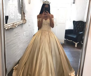 dress, gold, and princess image