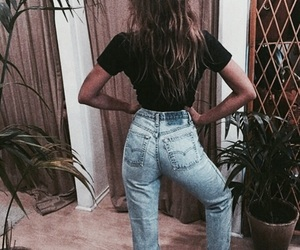 girl, jeans, and denim image