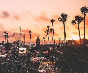 beautiful, sunset, and palm trees image