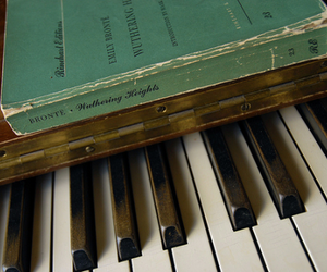book, piano, and wuthering heights image