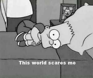 bart, black and white, and fear image