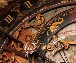 clock, vintage, and zodiac image
