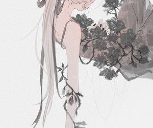 anime, flowers, and anime girl image