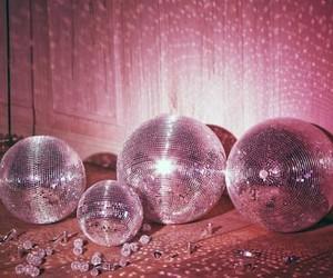 disco, pink, and disco balls image