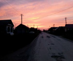 road, village, and sunset image
