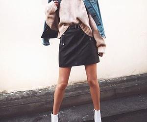 black skirt, fashion, and jeans jacket image