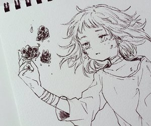 anime, drawing, and flowers image
