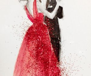 red, art, and couple image