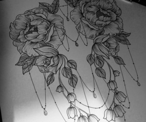 black&white, flowers, and chest image