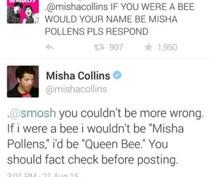 misha collins, funny, and supernatural image