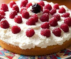 cake, cream, and raspberry image