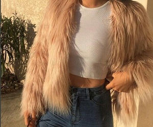 fashion, jeans, and fur image
