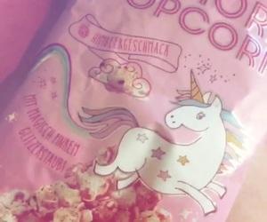 pink, einhorn, and popcorn image
