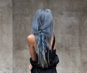 black, hair, and blue image