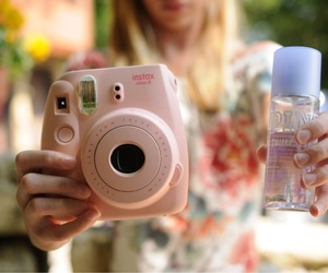 photography, pink, and polaroid image