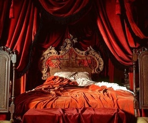 red, bedroom, and bed image