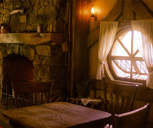 fireplace, window, and hobbits image