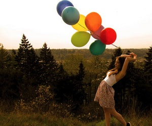 balloons, floral, and girl image