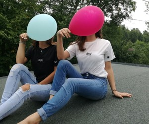 baloons, black&white, and couples image