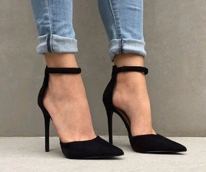 black, fashion, and stiletto heels image