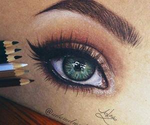 drawing, eye, and green image