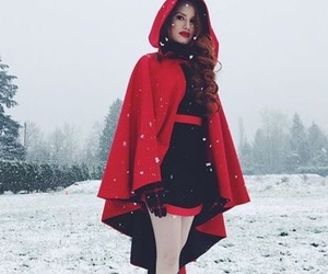 pretty, red, and snow image
