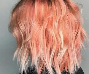 hair, peach, and short image