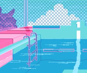 pixel, art, and pool image