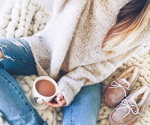 coffee, denim, and outfit image