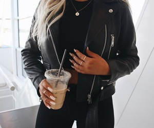 black, fashion, and leatherjacket image