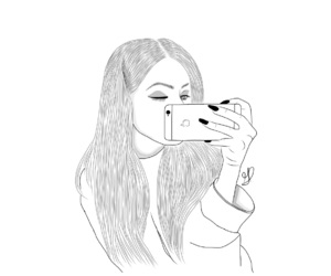 girl, iphone, and outline image