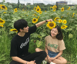 couple, ulzzang, and flowers image