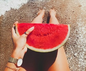 beach, food, and summer vibes image