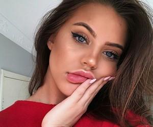 blue eyes, model, and brunette image