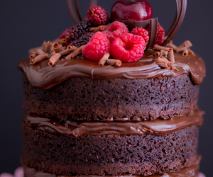 chocolate, naked cake, and red fruits image