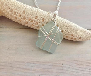 etsy, sea glass jewelry, and wire wrapped pendant image