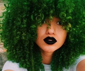 curly hair, green, and green hair image