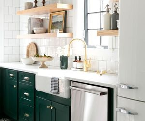 home decor, kitchen, and green cabinetry image