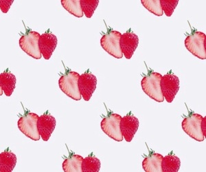 hearts, strawberry, and wallpaper image