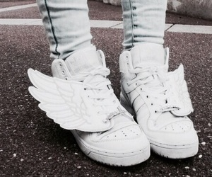 shoes, white, and wings image