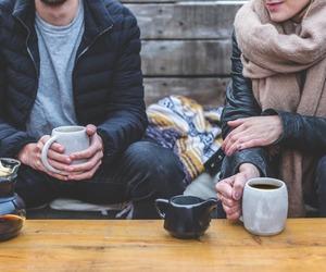 boy, green tea, and coffee image