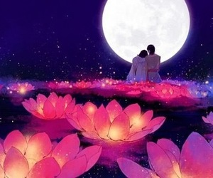 love, moon, and anime image